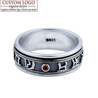 FEELIN Fine Jewelry 100 Genuine 925 Sterling Silver Red Garnet Rings Men Punk Retro Thai Silver