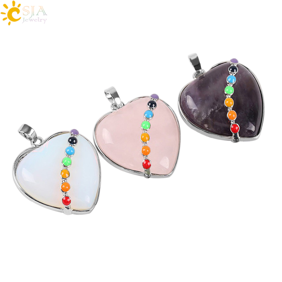 CSJA Heart Gem 2016 New Reiki 7 Chakra Natural Stone Pendant Statement Necklace Love Choker Jewelry Men Women Best Gift E072