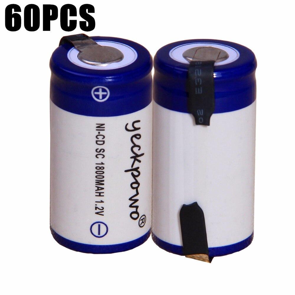 60 шт. SC 1800 мАч 1,2 В аккумулятор NICD аккумуляторные батареи для аварийного освещения игрушка оборудования мощность 4,25 см * 2,2 см для электроинст...