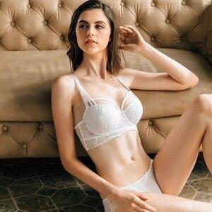 Image 3 - Termezy 2019 sexy conjunto de sutiã de renda 3/4 xícara push up sutiã lingerie ajustável conjuntos para mulher 70 85a b c cup frete grátis