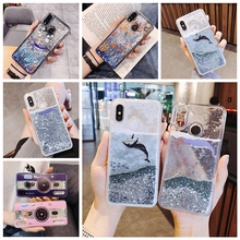 Cartoon Whale Fish Phone Case For huawei p20 lite P smart Nova 3 3i p10 honor 9 10 v10 7x y7 y9 2018  Liquid Quicksand