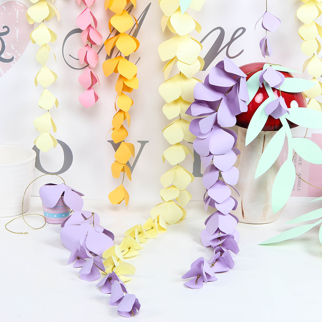 Diy Hanging Paper Wisteria Paper Flower Garland Branch Decor Wedding