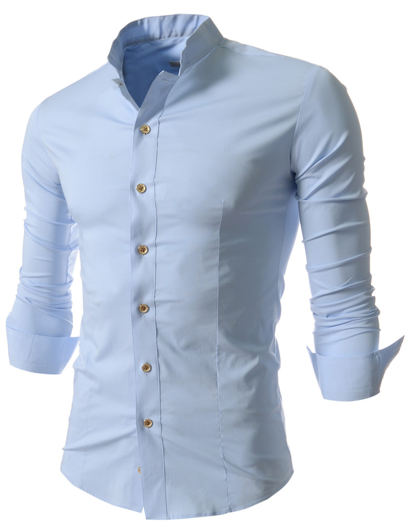Stand Collar Shirts Designs : New leisure small stand collar men s long sleeve shirt in
