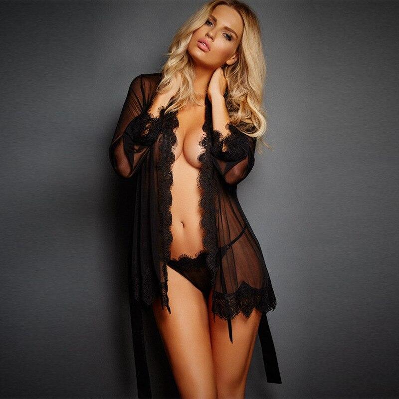 Exotic Apparel Sexy Lingerie Women Lace Transparent Cardigan Nightdress Sleepwear Costumes Erotic Lingerie Babydolls Chemises