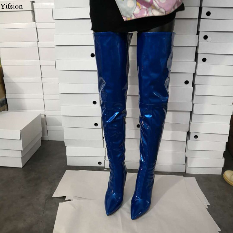 Olomm New Arrival Women Spring Over The Knee Boots Thin High Heels Boots Pointed Toe Blue
