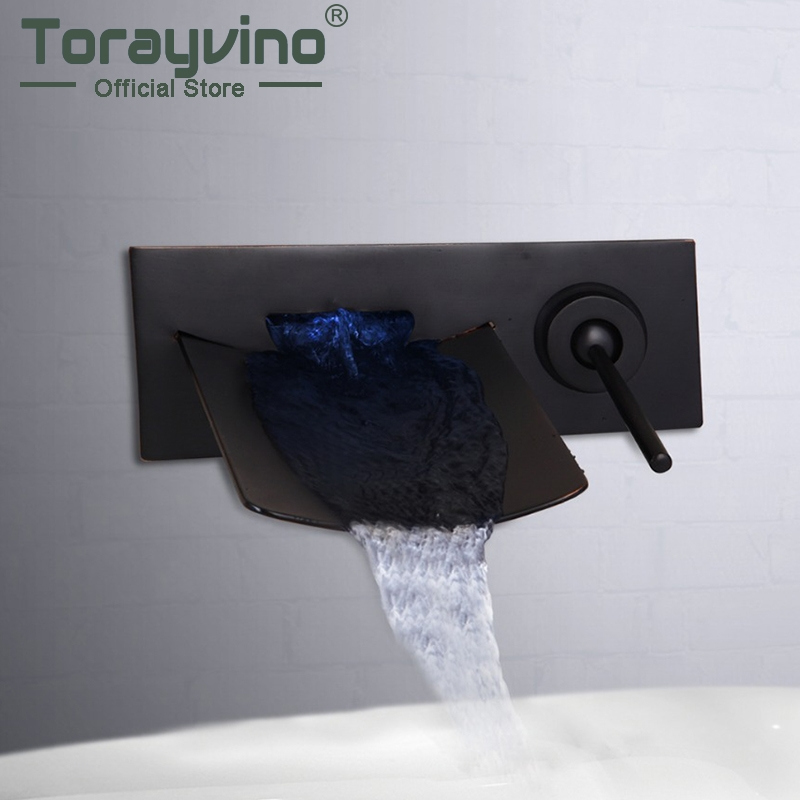 Torayvino LED Bathroom Basin Sink Faucet Waterfall Water Flow Lavatory Faucet OIil Rubbed Brozen Hot And cold water mixer tap цена