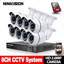 цена на AHD 8CH CCTV System 1080P DVR 8PCS 3000TVL IR Weatherproof Outdoor Video Surveillance Home Security Camera System 8CH DVR Kit