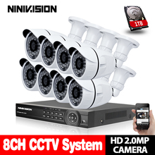 AHD 8CH CCTV System 1080P DVR 8PCS 3000TVL IR Weatherproof Outdoor Video Surveillance Home Security Camera System 8CH DVR Kit