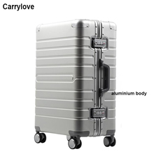 "CARRYLOVE 20""24""28"" inch 100% aluminium magnesium spinner travel suitcase trolley rolling luggage for travelling"