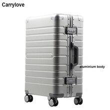 "Carrylove 20 ""24"" 28 ""인치 100% 알루미늄 마그네슘 회 전자 여행 가방 트롤리 여행용 수하물"