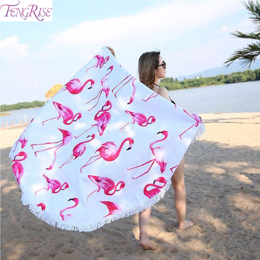Hawaiian Beach Blanket: Aliexpress.com : Buy FENGRISE Red Pink Flamingo Round