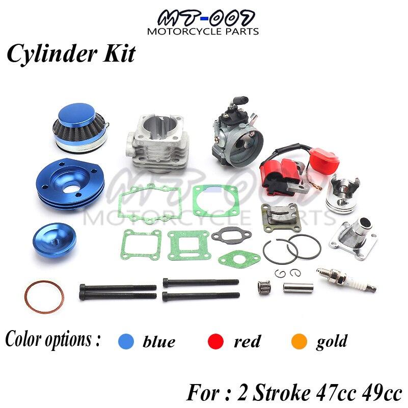 Cylinder Kit 19mm Carburetor Air Filter for 2 Stroke two stroke 47cc 49cc Pocket Bike Mini