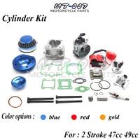 Cylinder Kit 19mm Carburetor Air Filter for 2 Stroke two stroke 47cc 49cc Pocket Bike Mini ATV Quad Group free shipping