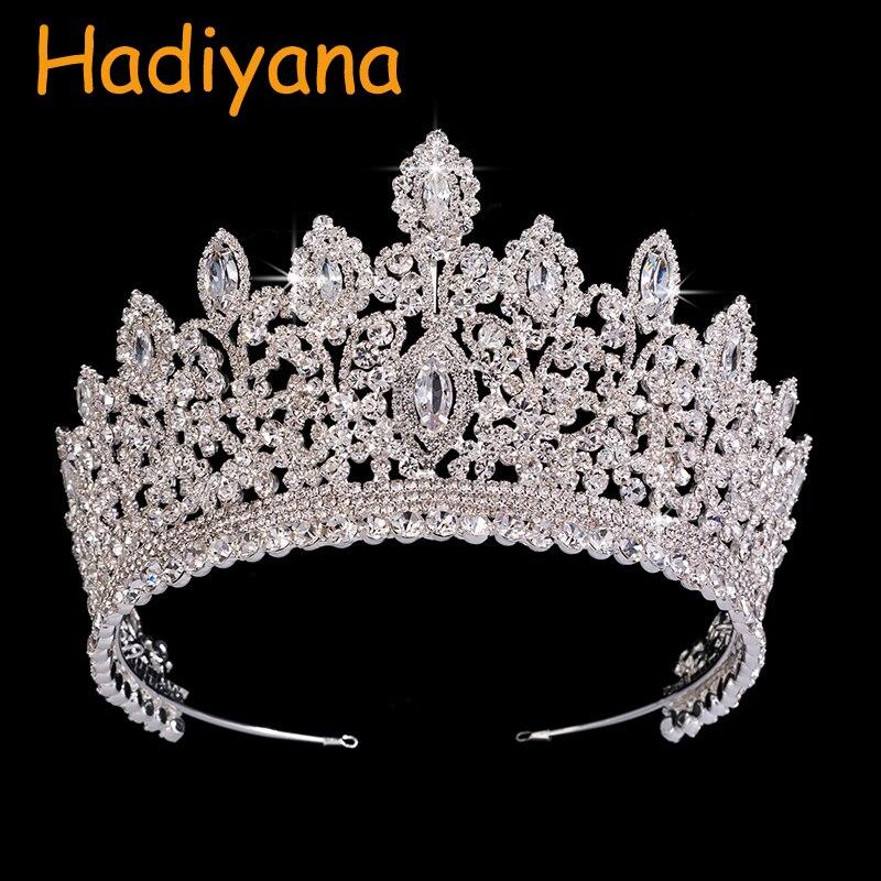 Hadiyana New Jewelry Design Wedding Crown Vintage Ethnic Bridal Hair Tiaras Copper CZ Luxury Rhinestone Anniversary Party BC3715