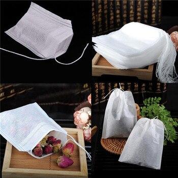 100 Uds sacos de té vacíos cuerda de papel de filtro con sellado térmico hierba té suelto bolsa de telas no tejidas sacos de té vacíos blancos cuerda de sellado térmico