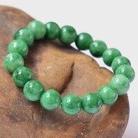 10mm 12mm 16mm Green Jade Beads Bracelet Natural Jade Bracelets Fashion Link Chain Gem Stone Lucky