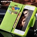 Kisscase para iphone 5c 5s teléfono móvil case de cuero flip case para iphone 5c para iphone 5 5s se ranura para tarjeta monedero soporte de nuevo cubierta