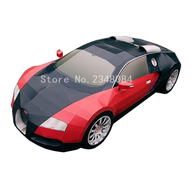 3d Paper Model Cars Bugatti Veyron Diy Paper Craft Handmade Toys
