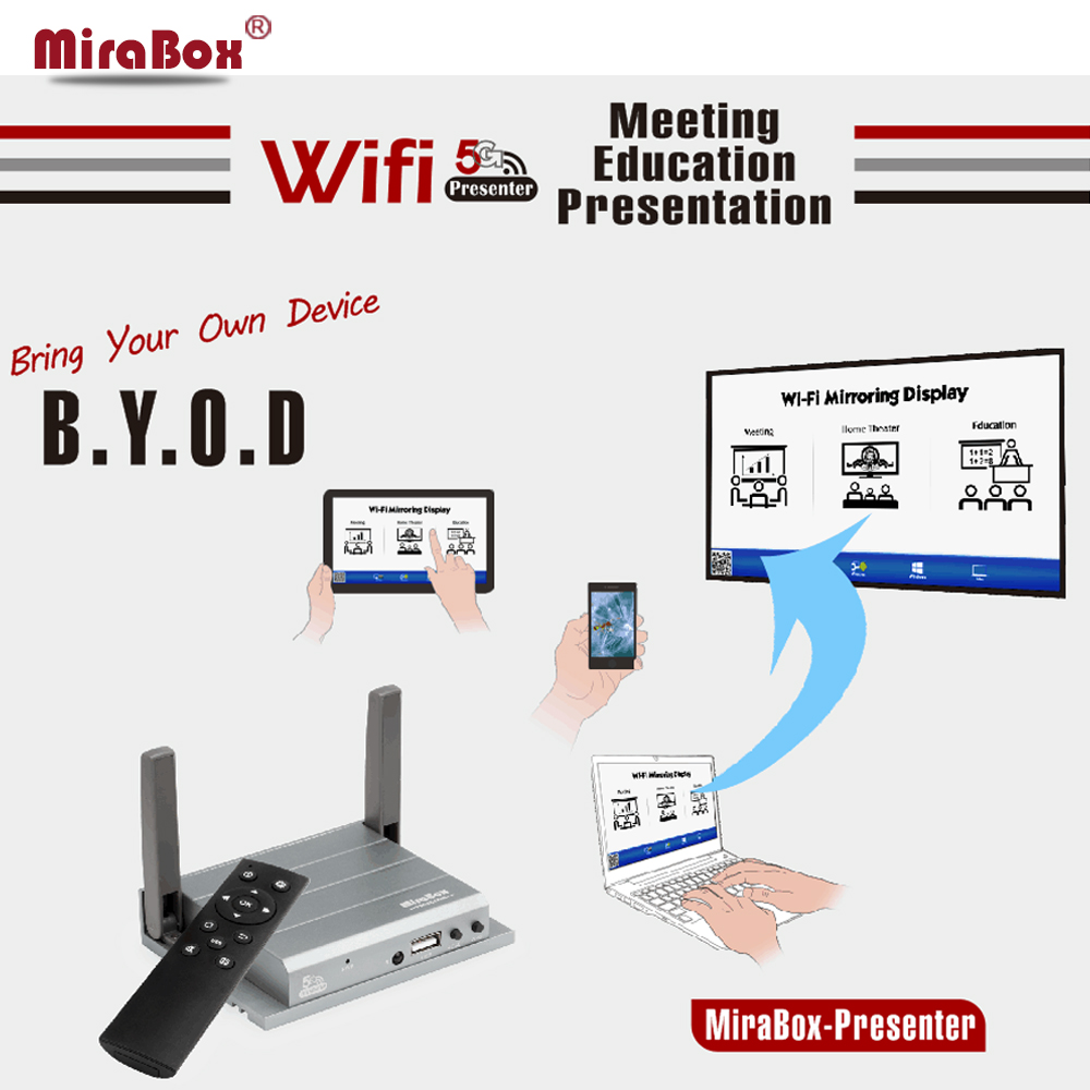 MiroBox Wireless  Mirroring Box With IR Support 1080P Full HD Wifi Screen Mirroring Box For iOS11 Android Windows Presentatiaon for ios11 5g wifi mirror box car wifi display android ios miracast dlna airplay wifi smart screen mirroring car and home hdtv