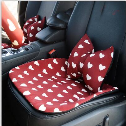 Love Red Чехлы рулевого колеса автомобиля Cotoon авто интерьер подголовник поддержка талии подушки сиденья чехлы Защита для девочек - Название цвета: 1pcs seat cover