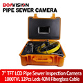 """40m Fiber Glass Cable Waterproof Industrial Sewer Pipe Inspection Underwater Camera 12Pcs Leds with 7"""" LCD Portable Plastic Case"""