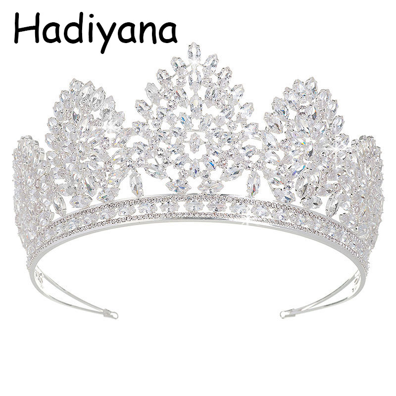 Hadiyana Luxury CZ Large Russia Crown New Arrival Pageant Crowns for Women Bridal Tiaras Royal Prom Party Design Jewelry HG6034Hadiyana Luxury CZ Large Russia Crown New Arrival Pageant Crowns for Women Bridal Tiaras Royal Prom Party Design Jewelry HG6034