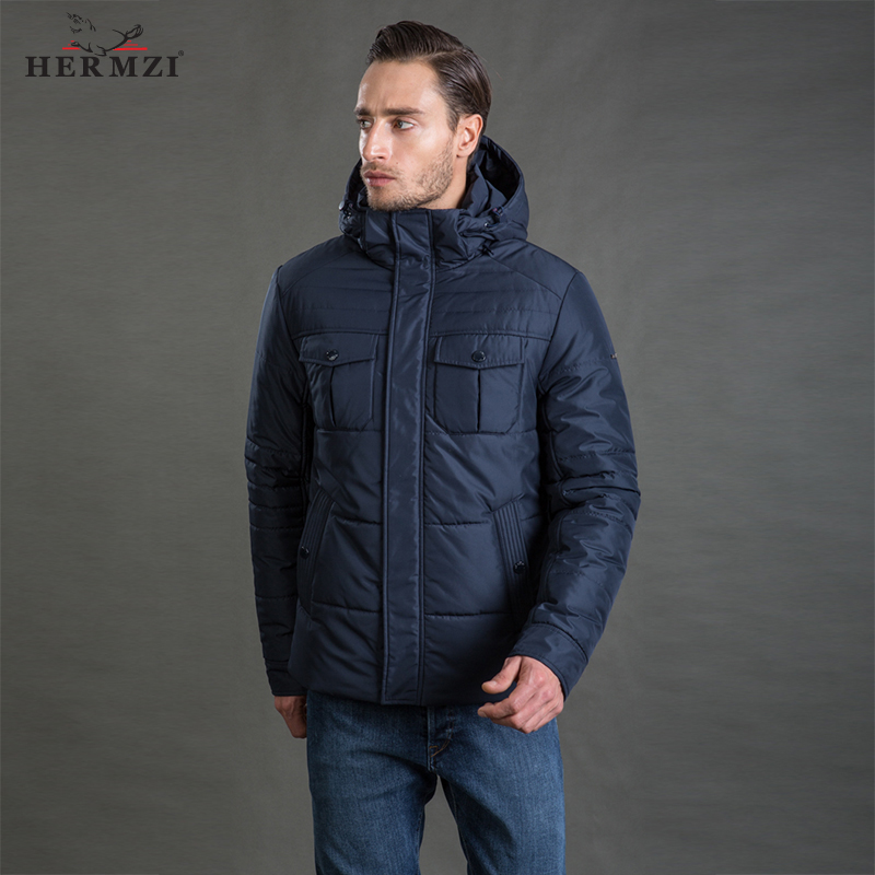 HERMZI 2019 Men Winter Jacket High Quality Fashion Autumn Cotton Padded Coat Mens Detachable Hood