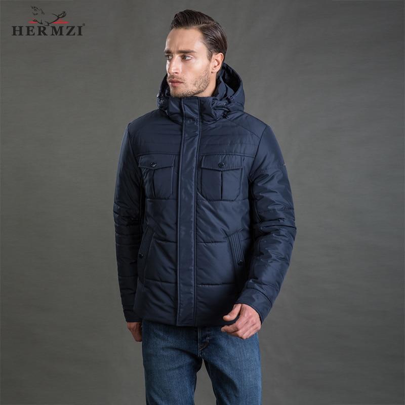 HERMZI 2019 Men Winter Jacket High Quality Fashion Autumn Cotton Padded Jacket Winter Coat Mens Winter Jacket Detachable Hood