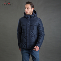 HERMZI 2020 Men Winter Jacket High Quality Fashion Autumn Cotton Padded Jacket Winter Coat Mens Winter Jacket Detachable Hood