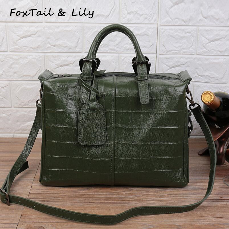 FoxTail & Lily New Crocodile Pattern Women Soft Leather Handbags Luxury Genuine Leather Shoulder Tote Bag Ladies Messenger Bags