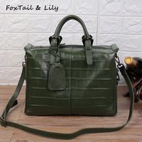 FoxTail Lily New Crocodile Pattern Women Soft Leather Handbags Luxury Genuine Leather Shoulder Tote Bag Ladies