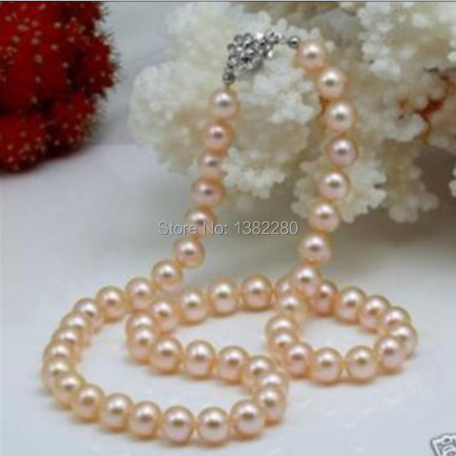 "Wholesale price 2015 fashion sexy! 8-9mm Pink Akoya Pearl Necklace 17""        JT6661"