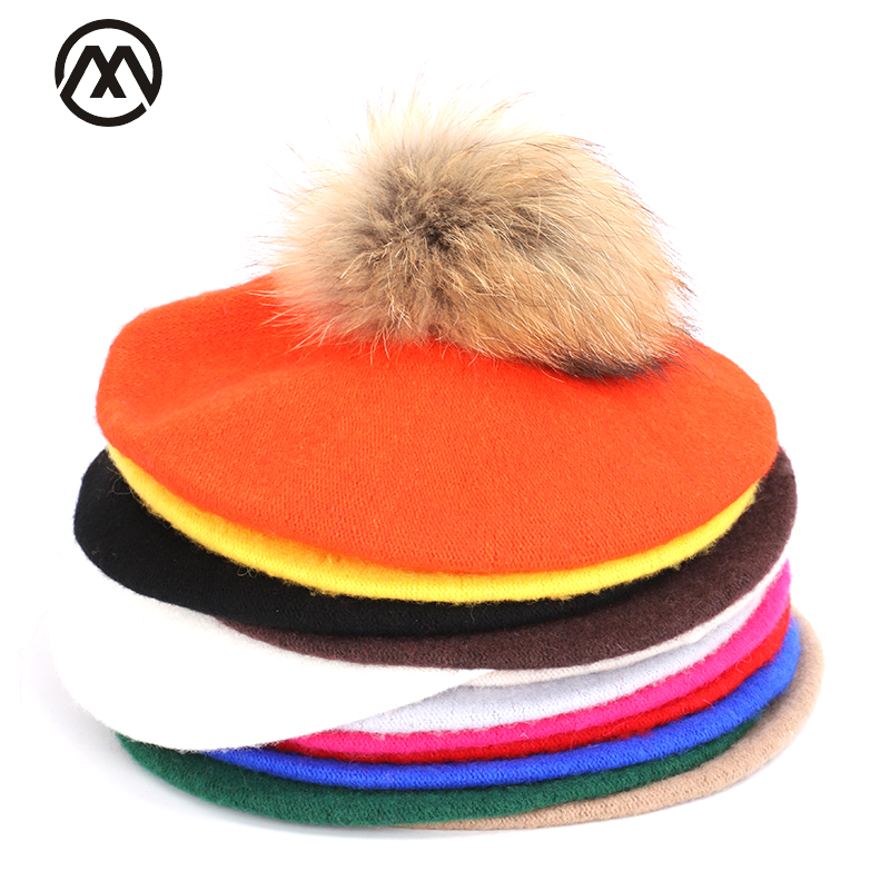 Winter Ladies Beret Fashion Warm Outdoor Painter Caps Artist Hats Spring And Autumn New Wool High Quality Raccoon Fur Pompoms