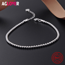 100%925 Sterling Silver Bracelet Fashion Charm Round 2.5mm Beads Woman Brand Jewelry