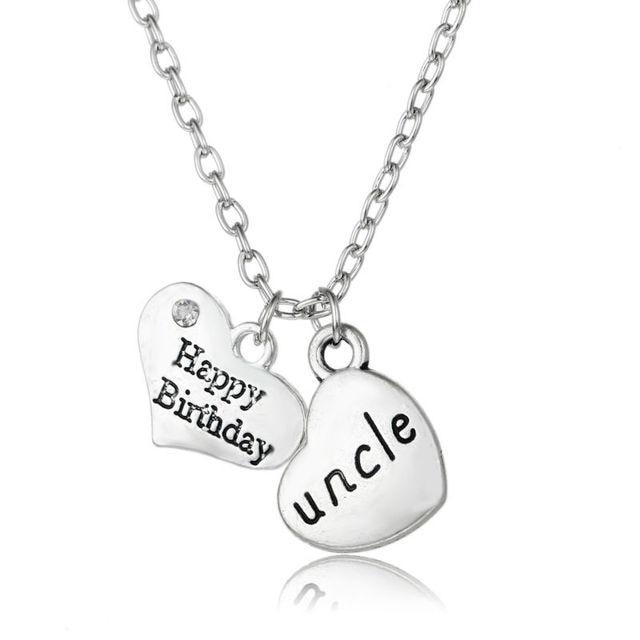 3abb49c974c0 Familia de la manera Tío Feliz Cumpleaños de Doble Corazón de Cristal  Plateado Plata de La