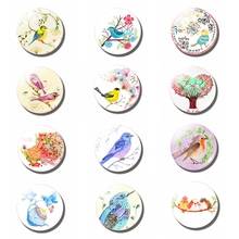 Cartoon Bird 25 MM Fridge Magnet Glass Ornaments Animals Refrigerator Magnet Set Magnetic Stickers Cute Bird Diy Home Decor painting the bird 30mm fridge magnet cute animals refrigerator magnet glass dome magnetic stickers creative home decor