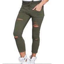 B Hot Women Fashion Cotton Hole Pencil Pants Skinny Nine Points Pants