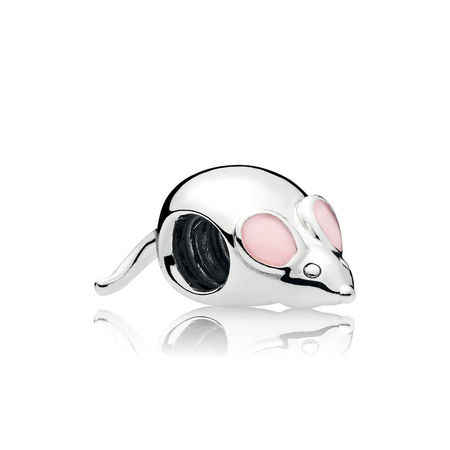 Silber farbe 1pc nette maus charme rosa emaille bead Charme Passt Europäischen pandora Charme Armbänder A914