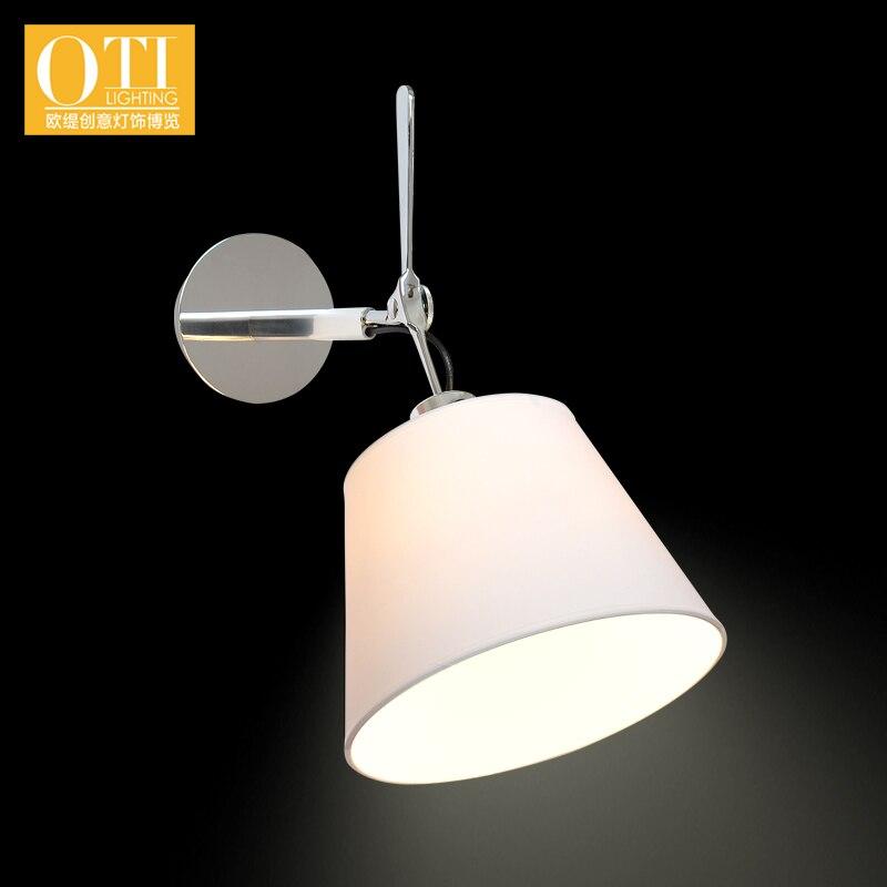 ФОТО Bedside Lamp Wall Lamp Living Room Bedroom Warm Simple Shade Cloth Single Head Wall Lights with Switch