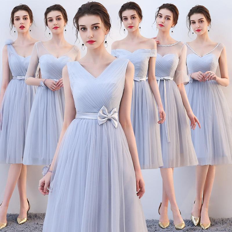 Sky Blue Satin   Bridesmaid     Dresses   2019 Long Formal Wedding Party Prom Reflective robe de soiree vestido de noiva Women   Dress
