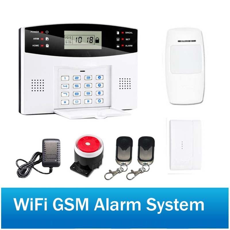 Sans fil de Sécurité À Domicile GSM Système D'alarme deux interphone SMS avis pour la mise hors tension WiFi GSM Alarme système IOS Android APP Contrôle