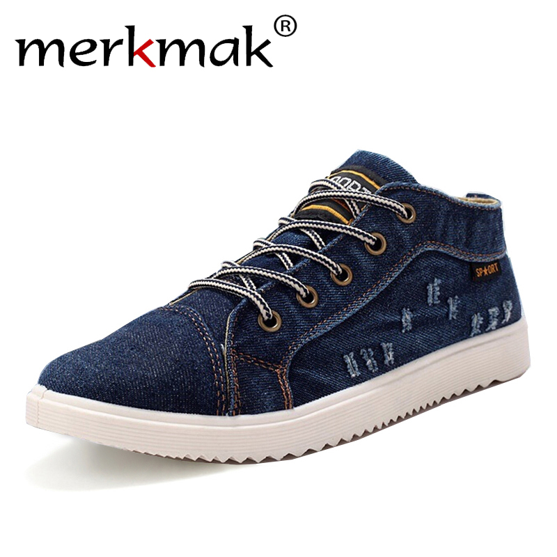 Britischen Stil, Mode Vintage Denim Jean Leinwand Schuhe Männer High-top Casual Mann Stiefeletten Flache Schuhe Üblichen Schule junge Schuhe