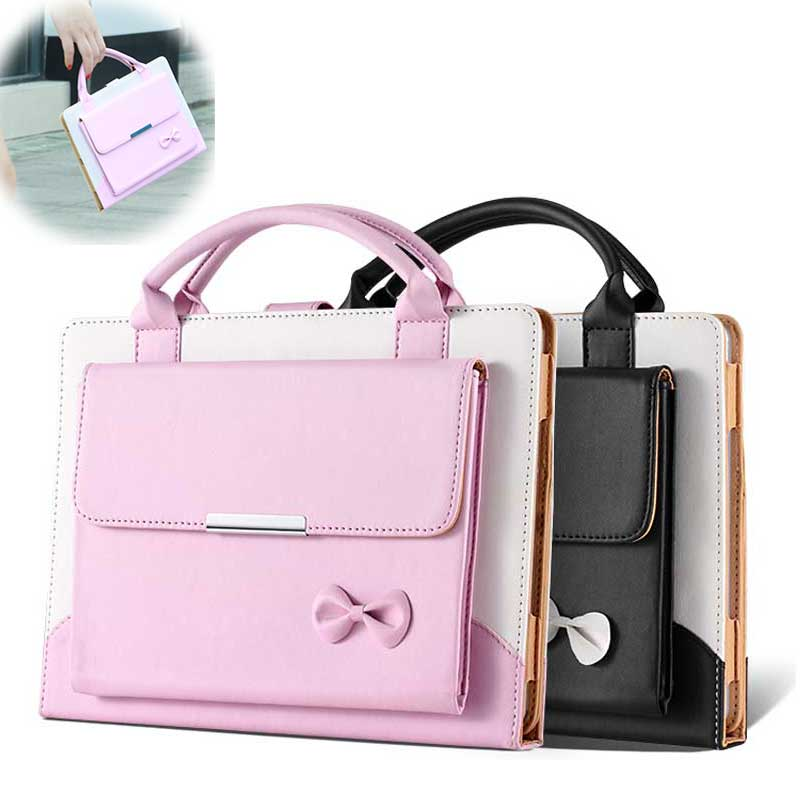 Universal Ladies Handbag Leather Case For Ipad Air Ipad5 Bow Girl Stand Smart Cover Bags For Apple Ipad6 Ipad Air2 9.7