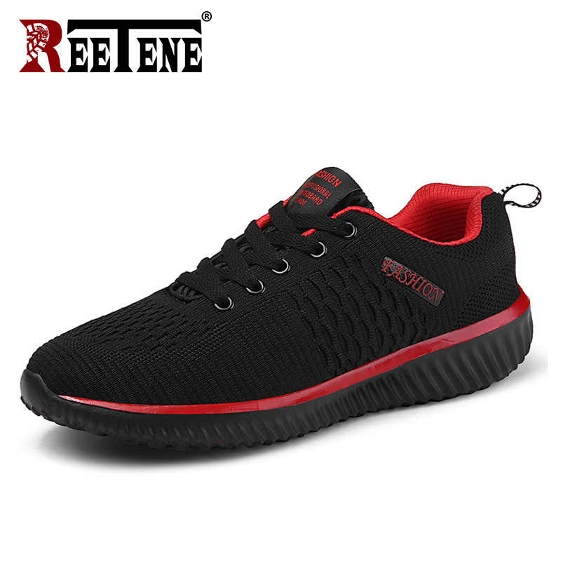 REETENE 2019 Fashion Heren Schoenen Casual Schoenen Merk Sneakers Voor Mannen Flats Mesh Lace Up Zapatillas Casual Hombre Grote Plus size
