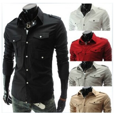 free shipping  New pocket more bigger sizes of men's shirts sell lots of men long sleeve shirt