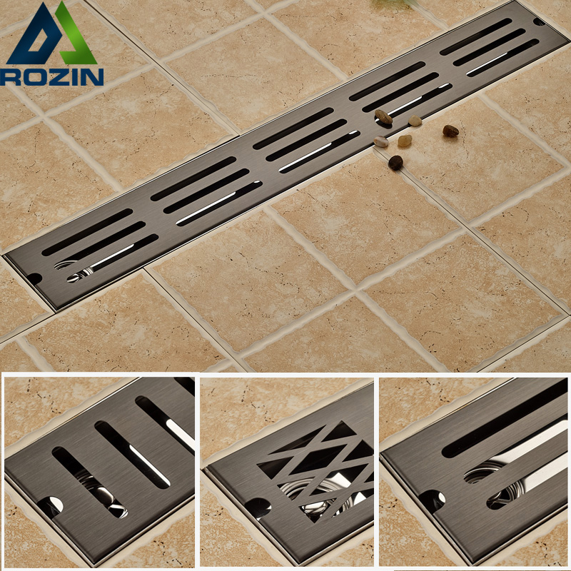 Oil Rubbed Bronze Bathroom Shower Floor Drain Stainless Steel 70cm Linear Long Bathroom Grate Channel Tile Drains mayitr stainless steel linear shower ground floor drain grate mesh sink strainer bathroom tool 900mm
