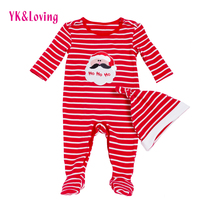 Baby Rompers Jumpsuit Santa Claus Long Sleeve Stripe Autumn And Winter Infantil Cartoon Newbron Overalls Christmas