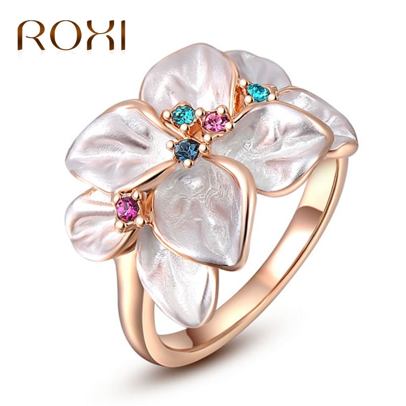 ROXI Wedding Ring Anel Rose Gold Color Austrian Crystal White Enamel Flower Series Rings for Women anillos Valentines Gifts