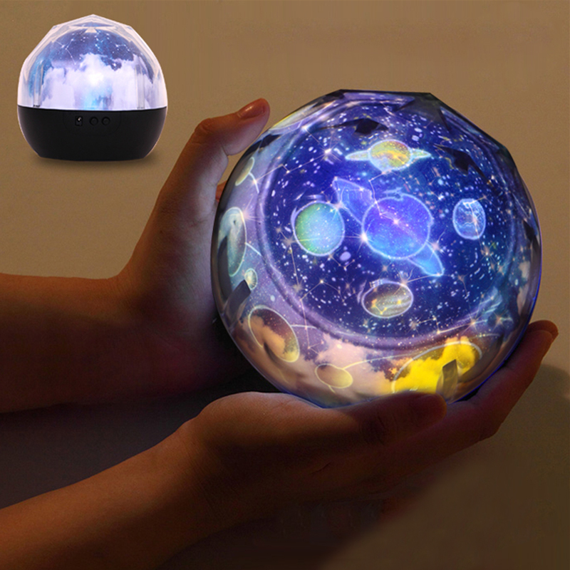 Universe Projection Night Light Lamp 3D Starry Sky Planet LED Projector Rotary Lamp Colorful Table Lamp For Kids Christmas Gift