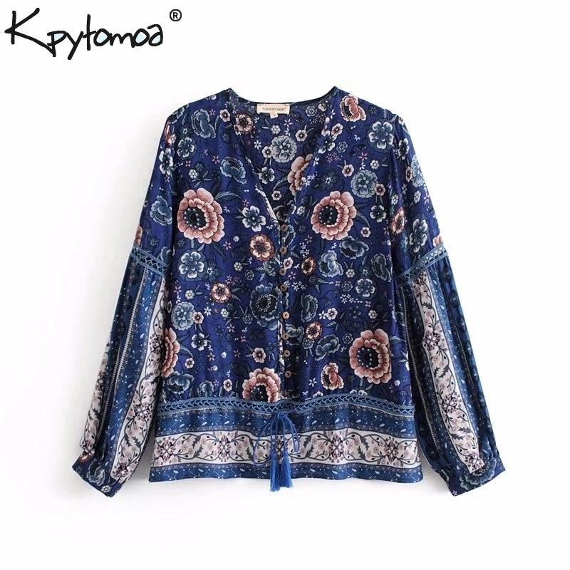 Boho Vintage Floral Print Patchwork   Blouse     Shirt   Women 2018 New Fashion V Neck Button Lace Up Tassel   Blouses   Casual Femme Blusas